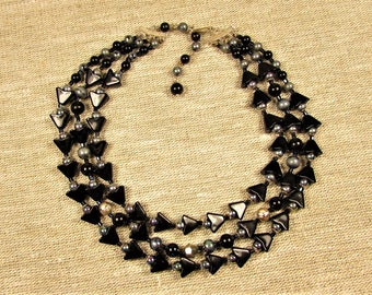 Black Glass Bead Necklace - Vintage Multi Strand Carnival Gold Tone Adjustable
