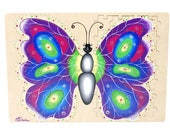 Wooden puzzle for children - developing mirror wooden puzzle ( butterfly )