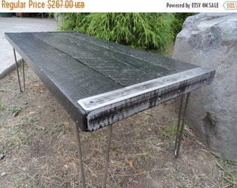 Limited Time Sale 10% OFF Black Stained Industrial Coffee Table from old barnwood with Black Trim and Black hairpin legs