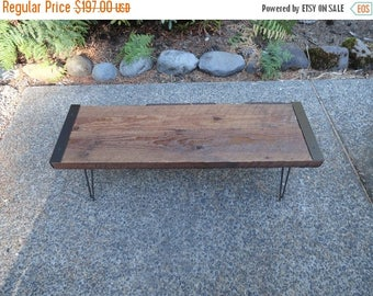 Limited Time Sale 10% OFF 20 inch Industrial Bench from salvaged barnwood with hairpin legs