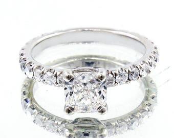 2.00 Ct Cushion Cut Diamond Engagement Ring U-Setting E,VS2 GIA 18K WG Natural