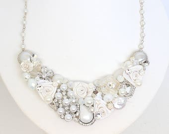 White Bridal Necklace- Statement Necklace- Bridal Bib Necklace- White Bridal Bib- Vintage-Inspired Necklace-White Wedding Necklace-White Bib
