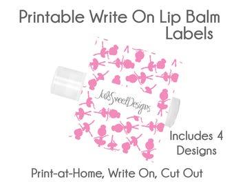 Ballet Lip Balm Labels - Ballet Ballerina Pink Dots Chevron Stars 4 Designs, Write On Print at Home Instant Download, Lip Balm Labels