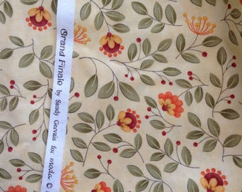 Moda Fabric Grand Finale Yellow Leaves and Berries
