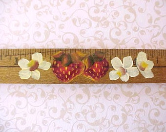 Cute little Vintage Look Ruler Magnet with Hand Painted Strawberries