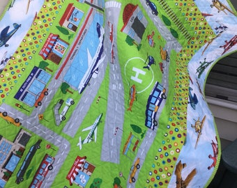 Airplane Playmat- Baby Quilt - Crib Quilt  - Lap Quilt - Playmat - Airplanes Quilt - Homemade Quilt - Toddler Quilt - Toddler Playmat