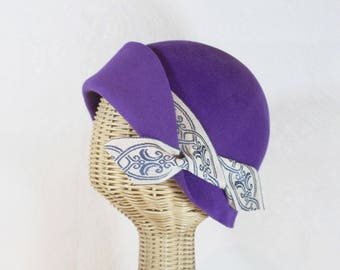 Purple Cloche Hat in Velour Felt ~ Amelie ~ 1920s flapper, Downton Abbey, women's, ribbon ~ handmade by Bonnet, local Portland millinery