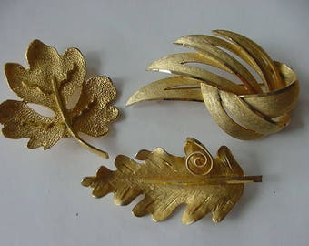 Lot of 3 BSK Goldtone Pins/Brooches, Costume Jewelry, Collectible, 1960s