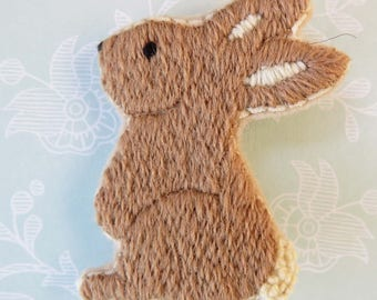 Rabbit Brooch, Hand Sewn and Embroidered