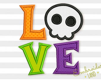 Love Halloween Skull Applique Machine Embroidery Design  HAL023