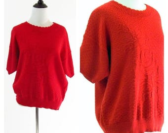 SUMMER SALE Vintage 1980s Red Sweater - Cropped Red Rose Sweater with Dolman Sleeves - Retro Short Sleeve Knit Sweater- Size Medium / Large