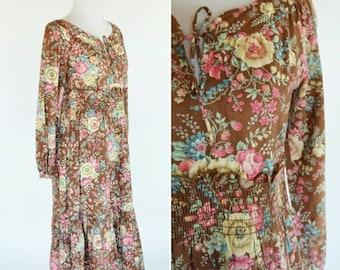 SUMMER SALE Vintage 70's Brown Floral Prairie Dress - Smocked Empire waist -  Mori Girl Dress - Bohemian Festival Dress - Folk hippy Dress -