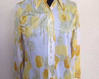 Vintage Vera yellow flowers blouse sz s 1970s polyester