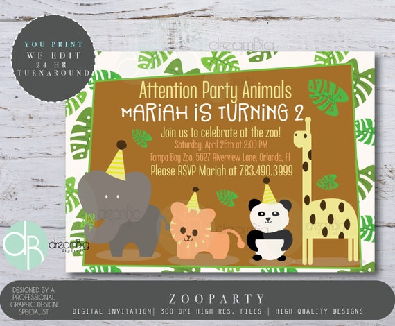 Party animal invitation calling all party animals zoo birthday il570xn stopboris Choice Image