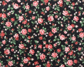 Cotton Floral Fabric, Polished Cotton Fabric, Black Floral, Pink and Black Fabric, Rose Fabric, Vintage Fabric - 1 Yard - CFL2383