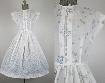 1950's Floral Border Print Dress / Size Small