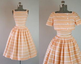 1950's Peach Stripe Sun Dress / Size XSmall