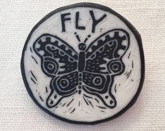 Porcelain sgraffito FLY butterfly pin
