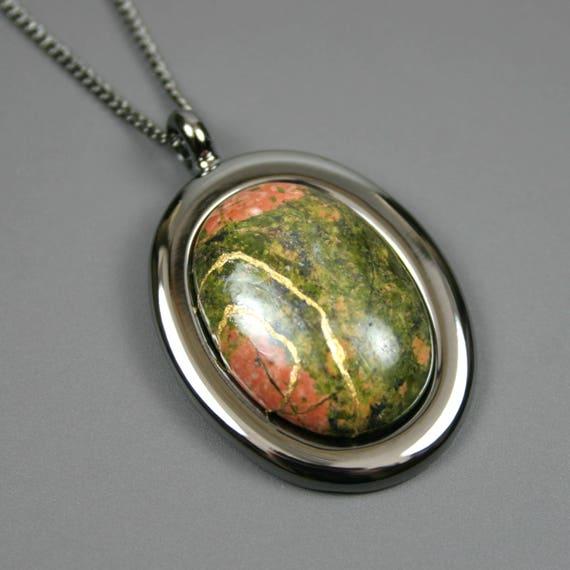 Kintsugi (kintsukuroi) unakite oval stone cabochon pendant with gold repair in gunmetal setting on curb chain - OOAK