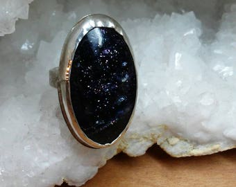 Handmade Reticulated Sterling Silver Oval Iolite Ring