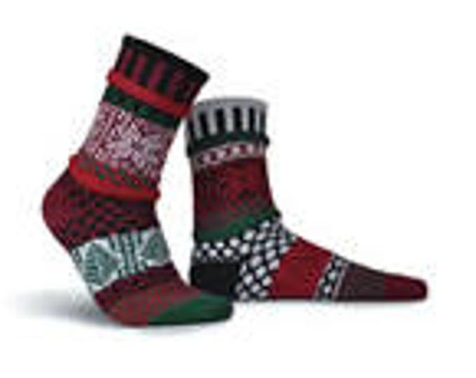 Solmate Socks - Poinsettia Crew