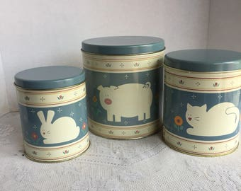 Metal Nesting Containers / Vintage Pig Rabbit and Cat Canisters / Vintage Home Decor / Kitchen Storage