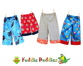 Boy's Sewing Pattern pdf. Boy's Pants Pattern. Lounge pants, Pajama Pants Pattern, Beach Shorts, Shorts Pattern, Ruffle Pants. Fuddie Duds