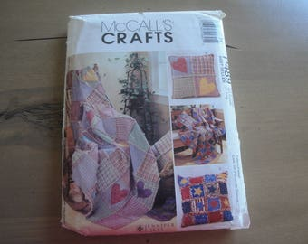 McCall's Crafts Sewing Pattern P489, Jennifer Lokey, Rag Throw, Rag Pillow, Hearts Stars, Blanket Throw, Throw Pillows