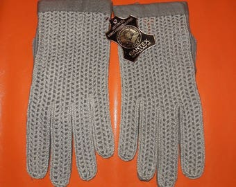 DEADSTOCK Vintage Driving Gloves Unworn Gray Leather Woven Driving Gloves Gantex NWT Made in France Rockabilly Mod Boho size 8 1/2