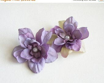 SUMMER SALE Purple Flower Hair Clips Lilac Light Purple Natural Flower Hair Clips Rustic Wedding Accessories Bridal Party Wedding Set Of Two