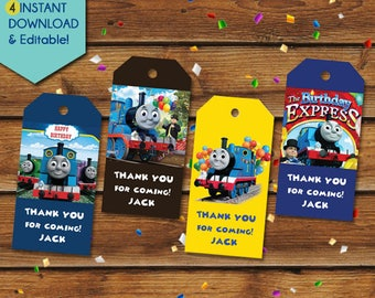 The Train Thank You Tags, The Train Party Favors, The Train Favor Tags, Train Birthday Tags, Train Party Tags, Train Gift Tags, Tank Engine
