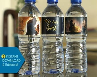 Beauty and the Beast Water Bottle Labels, Beauty and the Beast Water Bottle Wrapper, Beauty and the Beast Water Bottle Wraps, Princess Belle