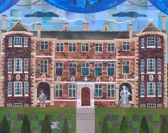 Ham House, Greeting Card, Ghosts, Haunted Houses, Architecture, Stately Home, Paper Collage, England, British, Amanda White Design, Garden