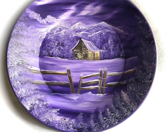 Hand Painted 11 Inch Gold Pans Mountain Mauve Lavender Log Cabin w Fence