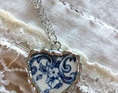 Broken China Heart Necklace Blue