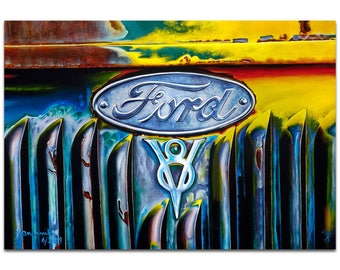 Americana Wall Art 'Forever Ford' by Todd Mandeville - Classic Cars Decor Country Rustic Automobiles on Metal or Plexiglass