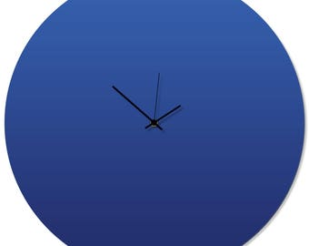 Contemporary Clock 'Blueout Circle Clock' by Adam Schwoeppe - Original Blue Kitchen Clock Minimalist Wall Decor on Aluminum Polymetal