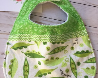 Flannel and terry cloth bib in sweet pea