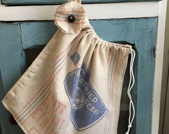 Toy bag/ dance bag/ Vintage grain sack travel bag/laundry bag/shoe bag