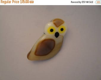 Christmas in July Sale Fused Glass Owl Pin - BHS02760