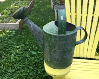 Vintage Galvanized Watering Can Green