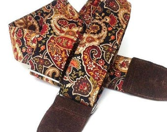 ON SALE this week only Guitar Strap in Gypsy Paisley Earth Tones with Black or Brown Leather Ends