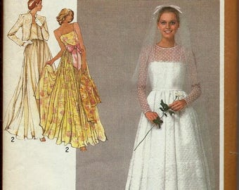 ON SALE VTG Simplicity 9364 Wedding Gown, Bridal, Bridesmaid Dress and Jacket Pattern, Size 12