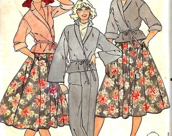 Butterick 6195 Misses Front Wrap Top, Flared Skirt And Straight Leg Pants Pattern, Size 16, UNCUT