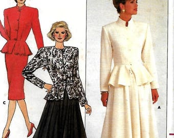 ON SALE Butterick 4104 Misses/Miss Petite Peplum Jacket And Straight Or Flared Skirt Sewing Pattern, Size 6-8-10, UNCUT