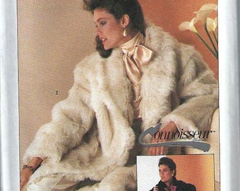 ON SALE Misses Connoisseur Collection Lined Faux Fur Coat Pattern, Simplicity 7078, Sizes S,Uncut