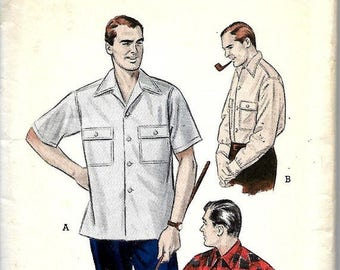 "ON SALE 1950's Butterick 6318 Men's Convertible Collared Shirt Pattern, Medium 15""-15 1/2"" Neck"