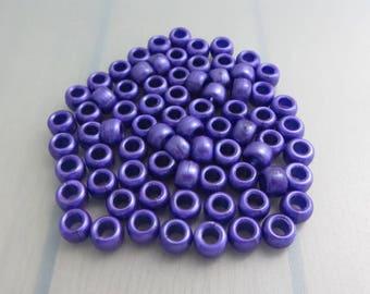 75 Purple Pony Beads, 6mm x 9mm Pony Beads, Dark Purple Acrylic Barrel Beads, Bead Destash
