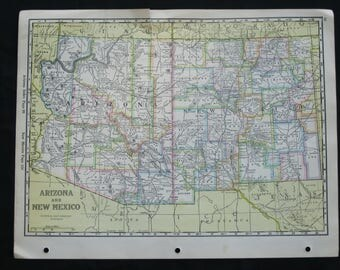 """1932 map of Arizona and New Mexico, counties outlined in pastels, map size  10.25"""" X 14"""", National Map Company, frame for home, office"""