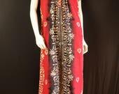 Ethnic dress Summer bohemian hippie dress Short sleeve batik dresses Camp festival dress Cotton midi dress Loose long tunic Boho caftan M L